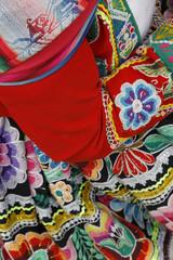Detail of a traditional Quechua dress, Cuzco, Peru.