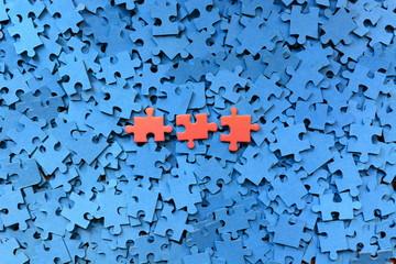 Piezas De Puzzle Sobre Fondo Azul
