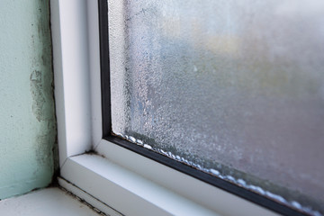 House Window With Damp And Condensation
