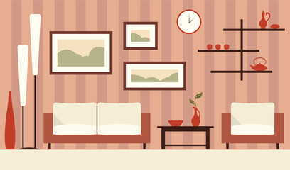 Vector color interior illustration of cartoon minimalistic modern living room.