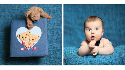 cute bewildered baby with an open mouth and a teddy bear
