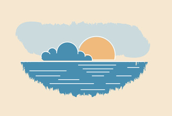 Sun cloud seascape drawing. Abstract summer sunset vector illustration.