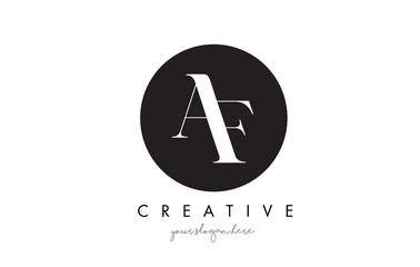AF Letter Logo Design with Black Circle and Serif Font.