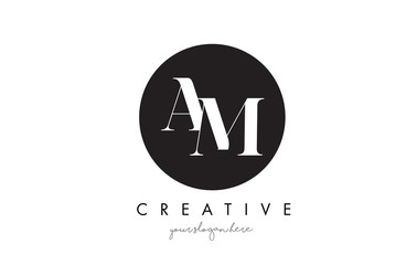 AM Letter Logo Design with Black Circle and Serif Font.