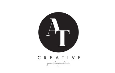 AT Letter Logo Design with Black Circle and Serif Font.