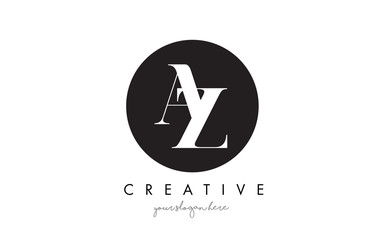 AZ Letter Logo Design with Black Circle and Serif Font.