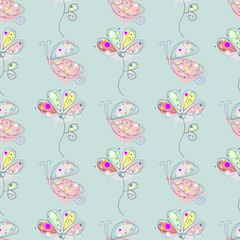 Vector seamless floral pattern with insect Hand drawn outline decorative endless background with cute drawn butterfly, flowers Graphic illustration. Line drawing. Print for wrapping, background, decor