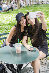 Two twin sisters taking a selfie at table in a park