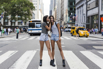 USA, New York City, two twin sisters talking on zebra crossing in Manhattan