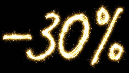 -30% off sign. Made by sparkler