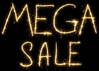 Text Mega sale made by sparkler