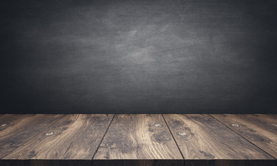 wooden table top with blackboard