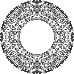 Rich decorated round frame pattern. Vector decorative background in ethnic Indian style for coloring book, design of textile, bags, product packaging, brochures, flyers.