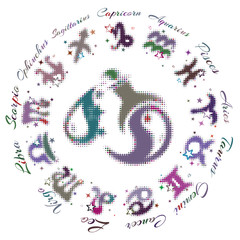 Photo sur Aluminium Crâne aquarelle zodiac sign Aquarius 13 characters