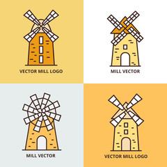 Wall Mural - Retro windmill logo set. Wheat bread mill vector icons