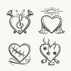 Tattoo hearts. Hand drawn heart icons vector illustration. Angel of music, needle and bullets isolated on white background