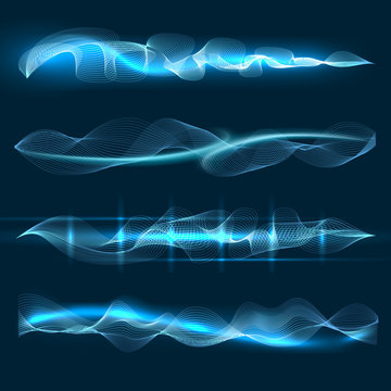 Voice or speech waves. Vector soundtrack symbols, soundwaves shapes