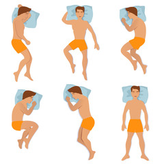 Man sleep positioning isolated on white background. Different sleeping poses vector illustration