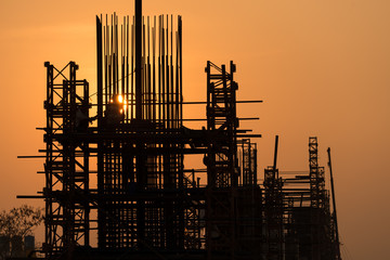 silhouette of construction road currently