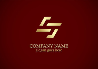 shape line abstract gold letter s logo