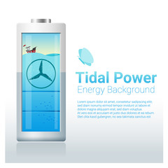Green energy concept background with tidal energy charging battery , vector , illustration