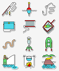 Fishing hobby icons set in line art thin and simply colorful style. Vector pictogram with fishing objects