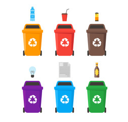 Recycle Bins Set. Vector