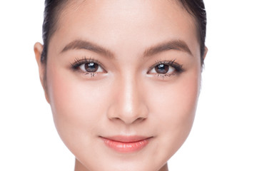 Beautiful Spa model Girl with Perfect Fresh Clean Skin. Beauty Asian woman face Portrait.