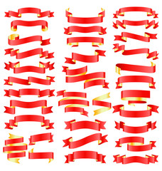 Set of Red Golden Celebration Curved Ribbons Variations Isolated