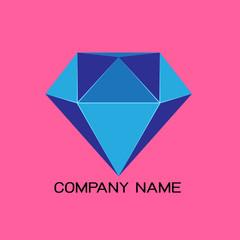 trendy flat design facet crystal gem shape logo element in multiple colors for business visual identity