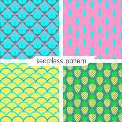 Set of four vector seamless geometrical patterns with pineapple. Vintage textures. Decorative background for cards, invitations, web design. Retro digital paper.