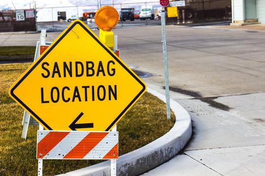 Sandbag Location Sign At Local Maintenance Yard
