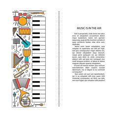 Music instrument line icons in piano shape. Art musical brochure element. Vector decorative greeting card or invitation design background. Creative booklet concept. Magazine cover