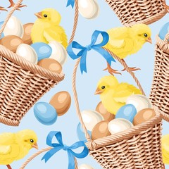 Seamless basket with eggs