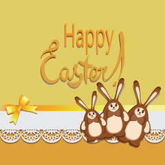 Chocolate rabbits. Happy Easter. Card with yellow background with lace cloth and chocolates. Vector image.