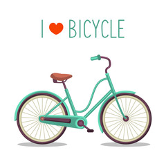 Vector illustration of urban hipster bike in trendy flat style with text I Love Bicycle.