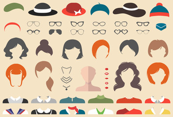 Big vector set of dress up constructor with different woman haircuts, glasses, lips, wear etc. Female faces icon creator