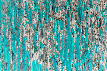 Abstract Old blue green and white painted wooden crack
