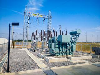 High voltage power transformer substation in Solar power station