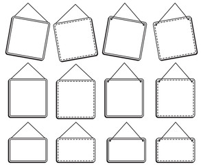 Doodle Style Hanging Signs or Frames in Vector Format