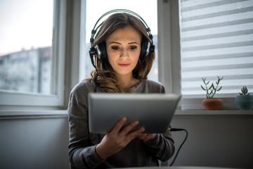 Listening favorite music from digital tablet