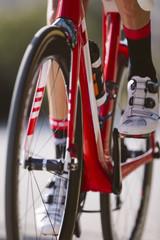 Cyclist riding a bike in a cycling race. Racing Bike.