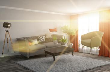 Zero Gravity Sofa hovering in living room. 3D Illustration