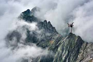 Martial artist training in mountains