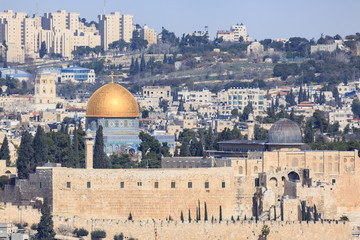 Far view to mosque of Al-aqsa in old city