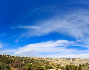 Majestic heaven over panorama of Jerusalem