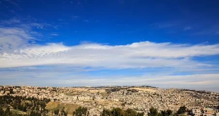 Blue heaven over old city of Jerusalem