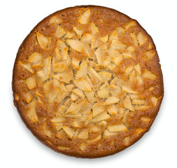 Apple pie isolated on a white background, top view, close up.