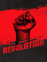 Revolution Social Protest Creative Grunge Vector Concept. Freedom Illustration on Rough Grunge Background