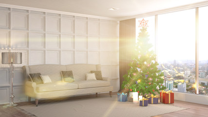 Christmas tree with decorations in the living room. 3d illustration